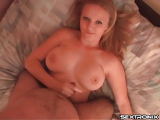 She jacks off small cock and gives a titjob tubes