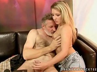 Blonde Cute Daddy Daughter Handjob Old and Young Small cock Teen