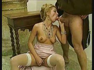 Hardcore sex in classic porn movie with stockings tubes