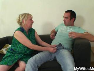 She finds her old mom sitting on her BFs dick