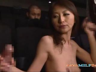 Asian Handjob  Public Threesome