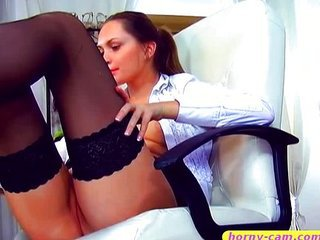 amazing daria toying her shaved pussy on her