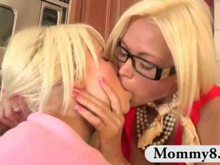 Blonde Daughter Glasses Kissing  Mom Old and Young Teen Threesome