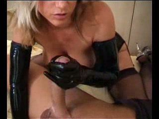 Blonde nice tits latex gloves gives big cock Hj cumshot