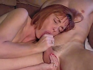 Blowjob Mature Mom Old and Young Redhead