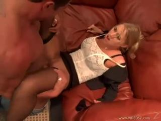 Busty brunette secretary in stockings gets slammed doggy sty...