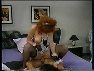Maid Pornstar Redhead Riding Stockings Uniform Vintage