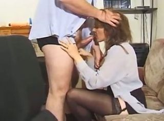 British hairy MILF in stockings gets fucked on the sofa