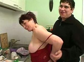 Plump woman with saggy boobs & guy