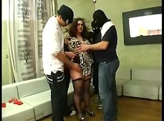 Chubby french amateur getting in funny gangbang