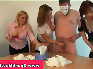 CFNM femdom game with cumshot race from their subjects