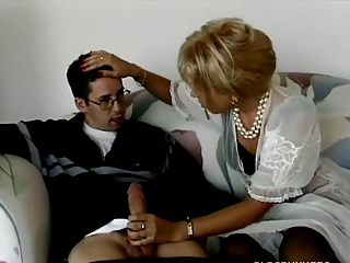 Blonde milf buttsex upon young sponger