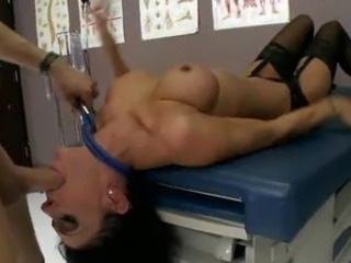 Long legged doctor involving big tits