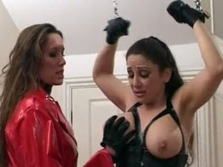 Great breasted Jewel gets her ass punished by femdom Jane.