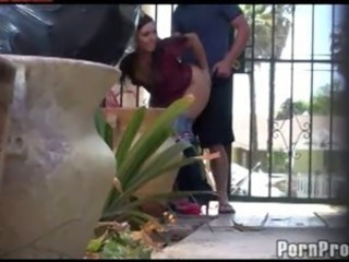 Amateur couple caught fucking outdoors