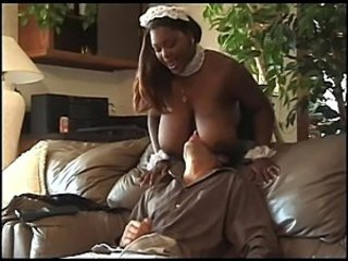 Ebony maid with huge tits
