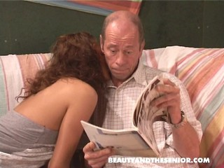 Sarah sucks and fucks old guy part 1