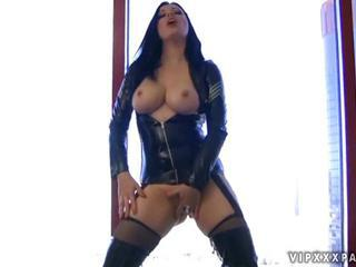 Busty girl in latex masturbating by Reno78