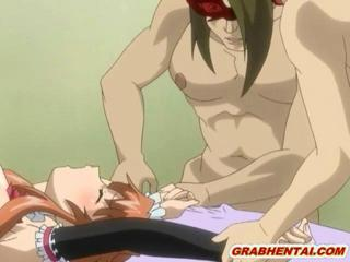 Busty Japanese hentai maid caught and brutally groupfucked by bandits
