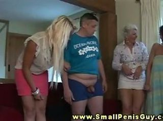 Small detect guy getting humiliated by doms
