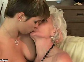 Big Tits Kissing Lesbian Old and Young
