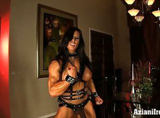 Aziani Iron Angela Salvagno in leather there strap on cock