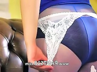 Purple nylons and incredibly hot pants