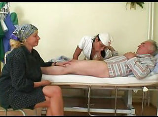 Blowjob Nurse Old and Young Threesome Uniform