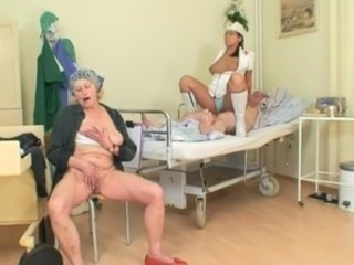 Nurse Old and Young Riding Threesome Uniform
