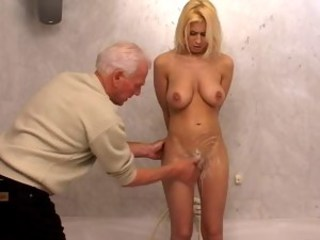 Bathroom Blonde Daddy Daughter Old and Young Teen