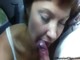 Blowjob In Car From Russian Couple  russian cumshots swallow