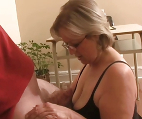 Glasses Handjob Mature