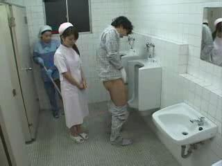 Asian Japanese Nurse Threesome Toilet Uniform