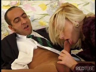Hot blonde gets nasty with her mouth and ass with an older guy