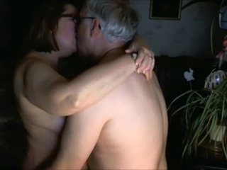 Amateur Glasses Homemade Kissing Older Wife