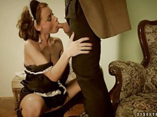 Blowjob Cute European French Maid  Uniform