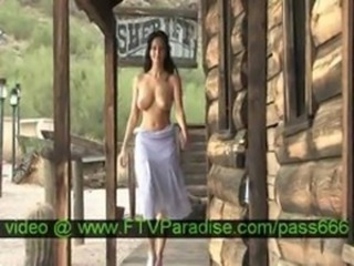 Adorable Busty Brunette Posing Naked Outdoor