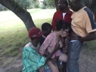 Blowjob Gangbang Interracial  Outdoor
