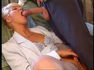 Blowjob Clothed Lingerie  Secretary Stockings