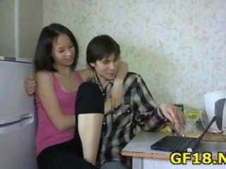 Cute Girlfriend Kitchen Russian Teen