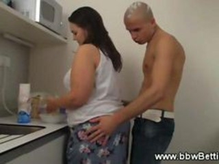 """Bbw Gets Wet And Hot While Cooking In Kitchen"""" target=""""_blank"""