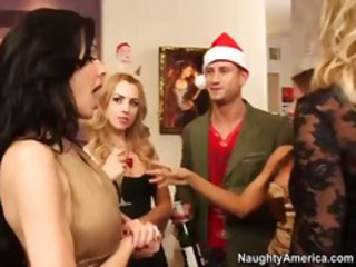 Boss fucks his horny office girls in a hot christmas party orgy