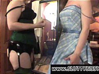 Crossdresser shows his cock under his undies in this fetish clip