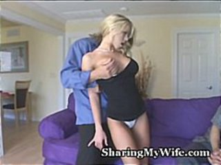 Young blonde wife screws a hunky tramp together with makes her husband look forward