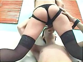 Blonde uses a strapon dildo to fuck her boyfriend in the ass