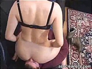 Mistress demands a man for ass cleaning using his tongue