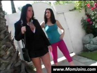 Teen and her mom posing and showing off their asses and pussy