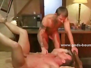 Old man gets his torso hit by a dominating man that and fucks him in the ass