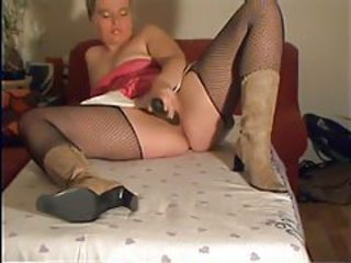 Cucumber slides into her chubby pussy tubes
