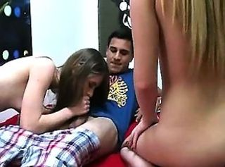 Three hot young girls enjoying groupsex
